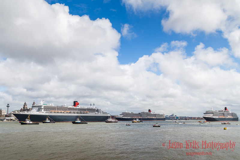 Queen Mary Two departs to leaves her sisters in Liverpool.