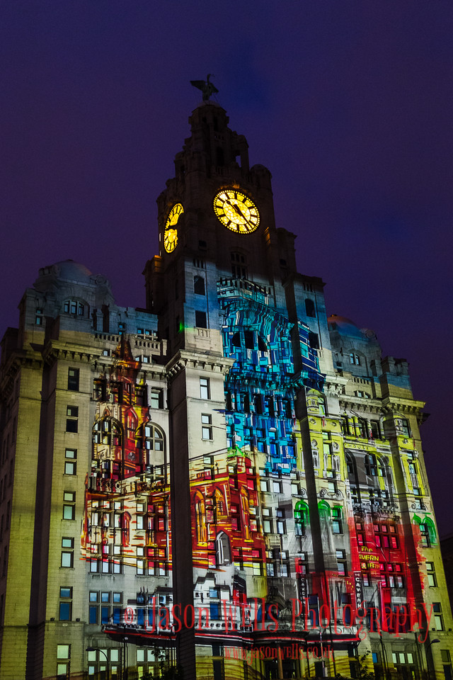Sights of Liverpool on the Royal Liver Building.