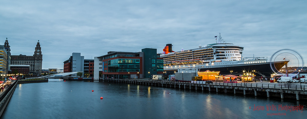 Queen Mary Two berthed on the Liverpool waterfront.