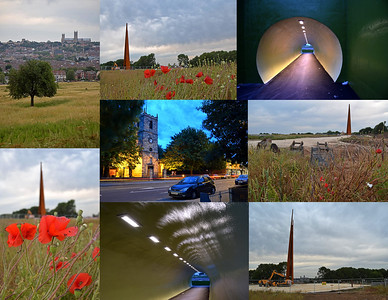 12.07.15 - Evening Fades  Some more shots from last Friday's guided photo walk. The original idea was to explore Lincoln South Common, the open hillside in the top left image, but we spent more time at the Bomber Command Memorial that is being constructed on it's southern edge. Then we played around with the new tunnel that I featured yesterday, and finished with some light trails on the High Street as it got darker. Even with heavily overcast skies it isn't really dark until after 11pm in the UK at this time of year, and the walks finish at 10pm