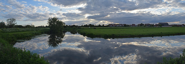 03.06.15 - Riverlands  A 2 shot photomerge panorama by the river last night. Finally the strong wind of the last few days has gone, turning the river into a mirror