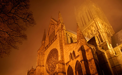 10.01.13 - Cathedral in the Mist  This is from my guided photo walk last night. As forecast it was one of those evenings night photographers dream of, mist and low cloud turning the area around the Cathedral into a magical wonderland of golden light and mystery. This is a new perspective, every time it gets harder to find one, but I keep trying! To get it I had to lay on my back against a wall looking almost straight up, and yes it was taken hand held at 10/16th of a second! I took several to make sure I nailed it, most came out OK, I was braced very tight against the wall with my knees  and elbows locked together. I must have looked very weird :)