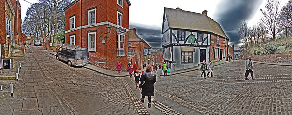 """16.02.12 - Threeways  This is a four shot panorama, encompassing almost 180 degrees of the view looking South from the Norman House down Steep Hill in Lincoln. The cul-de-sac of Christ's Hospital Terrace is to the left, and the cobbles of Michaelgate to the right, where the cyclists race during the Grand Prix in May. I did a similar shot to this last week, from over by the wall on the right, as a potential entry in the current Dgrin Challenge """"vanishing point(s)"""", but unfortunately I deleted the original images with the exif data I needed for the competition! So I've been playing with similar ideas, and making sure that I keep the originals!  I've decided to use my watercolour effect to add to the surreal 3D feel of the image, and at somepoint I want to see what this looks like at night before I decide on an entry.  Here is my previous attempt; http://www.lightanddreamsphotography.com/Photography/ALTERNATIVE-DAILY-POST/15316442_m3F5HV#!i=1705765706&k=F3Wgbkz&lb=1&s=X2"""