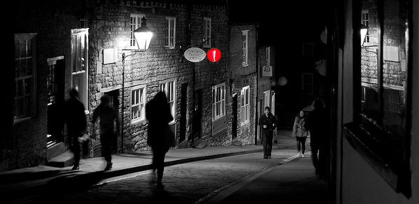 25.01.12 - Red Light  This is a reworking of a shot of the Chinese lanterns a couple of nights ago. This was the only lantern that was lit on this particular section of Steep Hill, and in the colour version the unlit ones spoiled the scene for me. Here they are barely visible, there are three of them, can you see them?