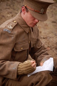 06.03.14 - Writing Home  Thank-you for the wonderful comments of Bryony in her WW1 woollens yesterday, this is from the other shoot we did that same day, quite a contrast. One of the main sources for our movie is the Crowder family archive, including letters written by Robert from France. Here actor Reece Ackerman who plays Robert Crowder is writing home. Nowadays soldiers on the front line often have internet connections and can Skype their families back home on a daily basis, but 100 years ago they relied on the complex system of mail. Millions of letters were moved every day, it was an incredible effort, and we are lucky that some of the letters survive today.