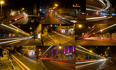 16.01.15 - Light Trails Fun  Well the winds did relent and let me do my guided photo walk last night. The people on it wanted to do light trails, and the customer is always right so we did do just light trails for two hours, including some train ones just to prove it doesn't have to be cars. With light trails the knack is always to try and find an interesting viewpoint and angle, not just shoot cars going across the camera. All of the above were also shot without using a tripod, a challenge I sometimes set myself, especially on a very cold evening when handling all that metal isn't fun! Shutter speeds were 5-10 seconds by the way.