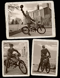 """23.03.14 - His Favourite Toy!  Some more shots from the weekend """"Tell Them of Us"""" shoot given the vintage scrapbook treatment, actor Adam Fielding as William Crowder on his 1910 Douglas motorbike. William's grandson is a consultant on the film, and the family are hugely supportive of the project. Through them we are able to get lots of personal background on William, who died in the late 1970s. We know he loved this bike and that he """"was a bit of a hat waver"""", so Adam made sure to get some hat waving in! For the technically minded this bike had a four stroke 350cc engine, and was basically a """"push bike with an engine attached"""". The designs changed drastically in the 1920s and became a lot more like modern motorbikes."""