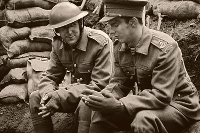 21.04.14 - The Trench  We had an incredible day yesterday transforming a corner of a Lincolnshire woodland into a trench in 1917 France. Here our actors Ben Atkinson (left) and Reece Ackerman (right) are having a chat during a quiet spell. I've given the image a vintage treatment using a combination of Color Efex Pro and Photoshop Elements.  Huge thanks for the comments on my Daily yesterday morphing the old and new shots together, that is possibly the image I am most proud of from all the ones I have ever taken.