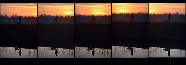 05.01.15 - Walk on By  This is from a couple of evenings ago but I thought I'd share it because it got a lot of positive comments on Facebook when I showed it there. It was a beautiful sunset but just as I was leaving the riverbank I noticed the guy approaching on the opposite bank. I couldn't get low enough to silhouette him and his dog against the sky, but I still like this sequence and hope you do too