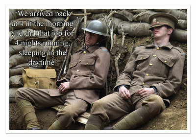 27.08.14 - Sleep  I did some more experimenting with matching stills from the film with quotes from Robert Crowder's letters from the Front to produce publicity postcards for Tell Them of Us yesterday. I've been struggling with a bad back since the weekend and have had to cancel some work this week. It is also difficult sitting at the computer for any length of time, but I have to be fit enough for tomorrow and Saturday as both are big filming days. As the filming draws to a close we are moving onto publicity material and planning film showings etc, it is all fascinating and keeps the creative juices flowing :)