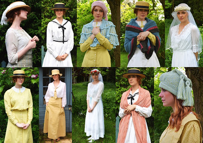 """19.05.14 - Dressing the Past  This is a collage of outfits from the """"Tell Them of Us"""" costume shoot last Friday with Bryony. The two """"wedding dresses"""" are actually from the period and were very fragile. The rest have been made by our costumier Pauline Loven, with woollen accessories by her worldwide volunteer army of knitters. Once the filming is over we will have a fantastic collection of costumes for others to use."""