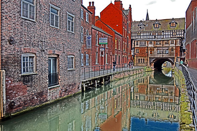 """26.03.14 - The Glory Hole (watercolour)  This is a famous sight in Lincoln, the """"Glory Hole"""" is the oldest bridge in Britain that still has buildings and traffic going across it. I have given this image my """"watercolour"""" treatment, which is basically a manipulation of shadows, highlights and contrast in photoshop"""