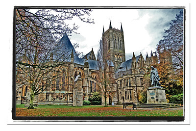 "15.01.15 - Cathedral Watercolour  I had another guided photo walk planned for last night but had to cancel it due to high winds. This gave me the chance to play with some old images, and I decided to create some ""watercolour"" images using the process I developed myself a few years ago. and have shown on the Dailies before. It involves manipulating light, shadows and contrast. I use photoshop elements. Go into the ""enhance"" drop down menu, choose ""adjust lighting"" and ""shadows/highlights"". This opens a box with 3 sliders; lighten shadows, darken highlights and midtone contrast. Push all as far to the right as you need for the effect, I often push them all the way. You might need further slight tinkering to get it how you want it, but often that is enough. This effect works really well with some images, and not at all with others, you soon get a feel for what will work. Detailed images taken in flat grey light work best. Those taken in bright sunlight with big blocks of single colours don't work well. Happy experimenting :)"