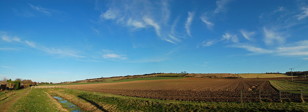 28.12.13 - Under the Big Blue  Yesterday was a glorious day, cold and crisp but hardly a cloud in the sky, perfect for a long dog walk! This is a two shot photomerge panorama of the fields behind our house leading up to the low ridge of Lincoln Edge. The path on the left is the old Lincoln to Grantham railway line which runs along the back of the houses. Willis and I had just walked up to the skyline near the centre of the image, then along to the small wood on the right edge and down by the power lines. A short walk along the old railway line and we were home, the walk took nearly two hours.
