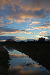 "17.01.14 The Ditch!  This is the sunset sky reflected in an artificial drainage ditch. Rest assured it doesn't look this nice in the light of day :)  Today I am shooting some publicity shots for our WW1 movie ""Tell Them of Us"", watch this space"