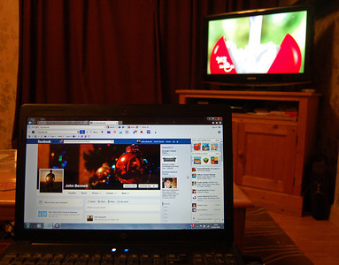 "03.01.14 - Slave to the Screens  I was going to call this ""multi-tasking"", but decided that was too positive a title, we are indeed slaves to the screens these days. I was flitting across the TV channels looking for something to watch, usual thing, hundreds of channels but nothing worth watching. While checking Facebook and waiting for the live cricket commentary from Australia to begin on the lap-top! I should have just gone to bed, the cricket was another unmitigated disaster for England!"