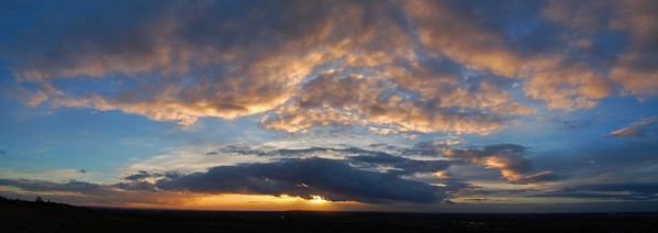 27.01.14 - The Dimming of the day  This is a 2 shot photomerge panorama of sunset yesterday while walking the dog. Unfortunately a bank of low cloud on the horizon prevented any sunset afterglow, but it was pretty good before then.