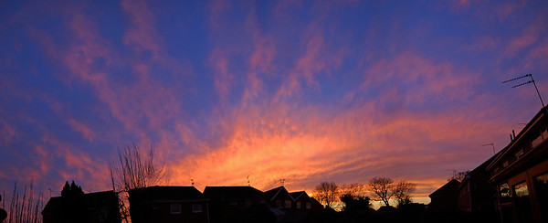 31.12.13 - Bye Bye 2013  We had a great sunset to end the old year. This is a 4 shot photomerge panorama from my back garden encompassing more than a quarter of the sky. Huge thanks to everyone who has taken the time to comment on my images over the last year. My own commenting has been very sparse in recent months, I will try to find time to do more in 2014, I promise ;)