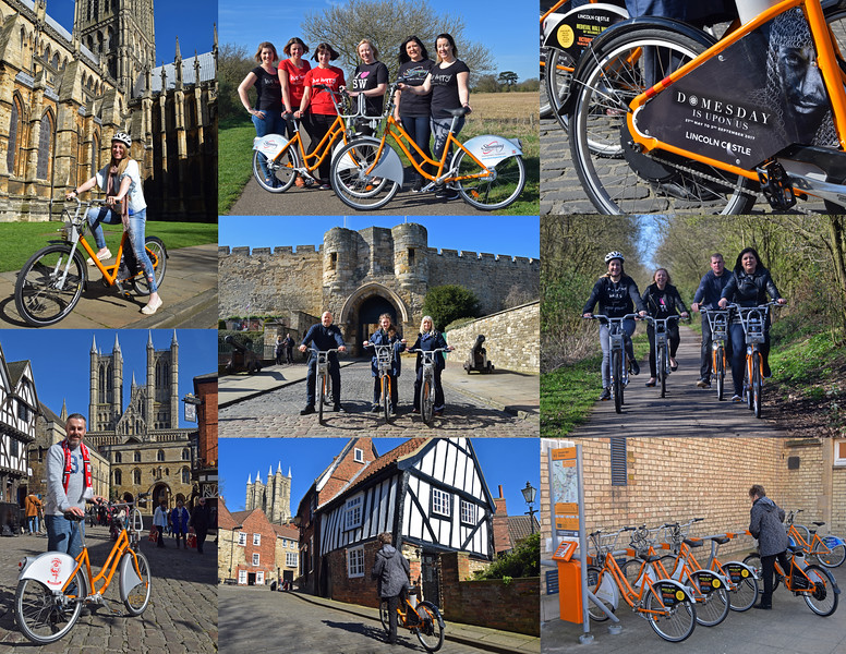 This is a selection from the photohoot for Lincoln Hirebikes on Friday. The brief was to photograph the bikes in the countryside and in front of iconic landmarks around town. We had volunteers from some of the sponsors, Slimming World and Lincoln Castle, also shots of the bike sponsored by Lincoln City Football Club. The light was very harsh, but we can't really complain about that, we could have had much worse in March!