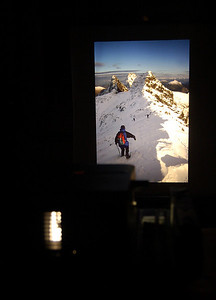 2.1.11 - Ghosts of New Years Past  Having struggled again all day with the damn flu bug I decided to cheer myself up this evening by having a slide show of happier times, and it doesn't get much better than rare perfect snow conditions on the Isle of Skye. Sadly my streaming eyes and throbbing head couldn't cope with the bright screen for long, just long enough to grab a couple of shots of the set up.