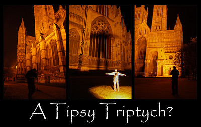 "27.04.10 - A Tipsy Triptych?  These photos were taken on Saturday evening, but processed tonight. ""Lincolnsteve"" had dragged me out for some beers and a photo walk, which was very welcome at the time. Individually these are some of the worst photos I've taken round the Cathedral, but they make a fun triptych I think :)"