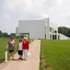 New Harmony Museum and Visitors' Center on the Wabash. Pat, Wyatt and Mom