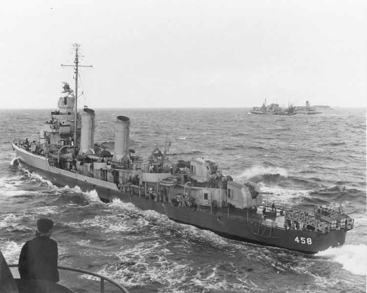 USS Macomb (DD-458)<br /> <br /> Date: November 6 1942<br /> Location: Unknown<br /> Source: Willam Clarke - National Archives