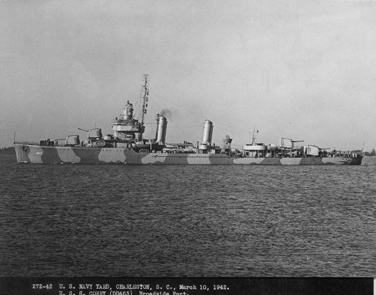 USS Corry  (DD-463)<br /> <br /> Date: March 10 1942<br /> Location: Charleston SC<br /> Source: Nobe Smith - Atlantic Fleet Sales (National Archives 80-G-CF-21573-1)