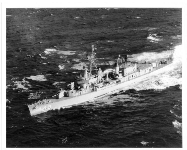 USS Nicholas (DD-449)<br /> <br /> Date: 1950s<br /> Location: Possibly off Hawaii<br /> Source: Nobe Smith - Atlantic Fleet Sales