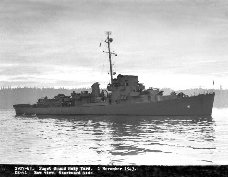 USS Brackett (DE-41)<br /> <br /> Date: November 1 1943<br /> Location: Puget Sound Area<br /> Source: William Clarke - National Archives