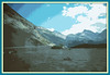 Route from Banff to Jasper, Canadian Rockies.  In the early stages of the melt from the Columbia Ice Fields, the river flowing north is a wide marsh area. After several miles the flow concentrates and builds to become rapids in many narrow rocky areas. This image is a posterization of a photograph taken by Ron Lowry in July of 2005.