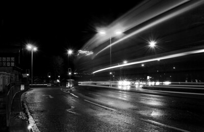 Background long exposure traffic shot after B&W conversion