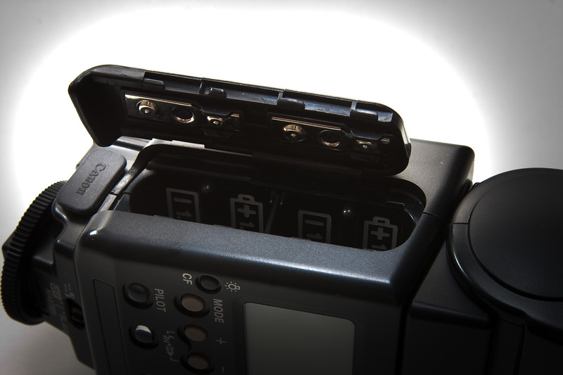 Remove the batteries.  Remember, the inside of the flash contains very high voltage parts.