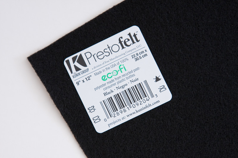 """One 9"""" x 12"""" sheet of black felt.  Can be self-adhesive or not, but glitter is not necessary or helpful."""