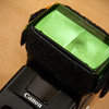 """Tough green"" gel corrects for the green cast of fluorescent lighting"