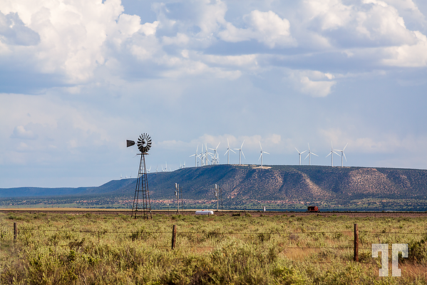Windmills old and new in New Mexico