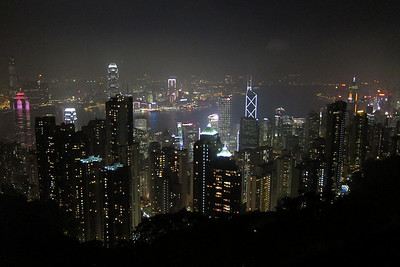 "Hong Kong City and Victoria Harbor from the top of ""The Peak""."