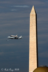 Daily Favorite for April 18, 2012.  Discovery flying by the Washington Monument - Washington, DC ... April 17, 2012 ... Photo by Rob Page III  More photos here http://rob-page-iii.smugmug.com/Washington-DC/Spring-2012/Discovery-Flyover-of/