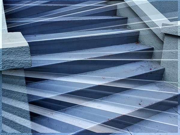 Double Exposure (Stairs and Aluminum Fence)