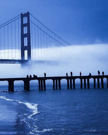 Golden Gate Bridge Bathed in Blue