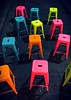Colorful Stools Light Up a Dark Alley