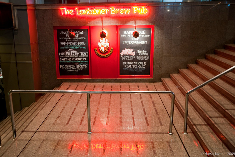 "Londoner Brew Pub (Pic 354 2nd year - 20 Jan 2010)<br /> <br /> This is for John from UK! A British pub in Bangkok. I liked the way the sign reflected on the tiles.  <br /> <br /> <br />  <a href=""http://www.javeri.net"">http://www.javeri.net</a>"