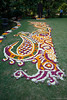 "Rangoli (Pic 306 2nd year - 29 Nov 2009)<br /> <br /> Normally Rangoli is made from chalk powder but sometime flowers are also used to create the design. <br /> As the design was rather long I had to shoot it from the side so tilt your head to the left and you will see motif of a peacock. The round objects are small earthen pots for oil lamps which were lit up after the sunset. <br /> Best seen in Large size.<br /> <br /> The earlier Rangoli pic is at <br />  <a href=""http://hershy.smugmug.com/gallery/6972999_iVPCh#722590478_LSk2V"">http://hershy.smugmug.com/gallery/6972999_iVPCh#722590478_LSk2V</a><br /> <br /> Shot at Snehal & Anshuman's wedding ceremony. <br /> <br /> more pics at:<br />  <a href=""http://hershy.smugmug.com/Events/Snehal-Anshuman/Wedding-Snehal-Anshuman/10412365_SiJ5r/1/721632616_ouP5C"">http://hershy.smugmug.com/Events/Snehal-Anshuman/Wedding-Snehal-Anshuman/10412365_SiJ5r/1/721632616_ouP5C</a><br /> <br />  <a href=""http://www.javeri.net"">http://www.javeri.net</a>"