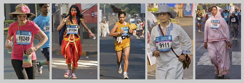 "4th year Pic 065 - Jan 21 2012 <span style=""color:yellow"">Lady participants</span> Mumbai Marathon 2012 <span style=""color:red"">Best seen in large size</span>  Some of the ladies who took part in Marathon open (42.195 km) and Half Marathon (21.097 km).  The lady in red is depicting Lord Hanuman.  Hanuman (Sanskrit: हनुमान्, Hanumān), is a Hindu deity, who is an ardent devotee of Rama, a central character in the Indian epic Ramayana and one of the dearest devotees of lord Rama. A general among the vanaras, an ape-like race of forest-dwellers, Hanuman is an incarnation of the divine.  http://en.wikipedia.org/wiki/Hanuman  <span style=""color:red"">Picnik!</span> Got a mail announcing that Picnik is closing down on 19th April 2012! :-(("