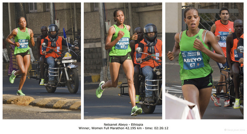 "4th year Pic 064 - Jan 20 2012 <span style=""color:yellow"">Netsanet Abeyo</span> Mumbai Marathon 2012 <span style=""color:red"">Best seen in large size</span> In the women section she had a lead of 4 minutes with the second and third placed were just 27 second apart.  The full and half marathons routes pass just round the corner from my house and shot some pics with friend Darshan on 15th January.   The Mumbai Marathon is an annual international road running competition over the marathon distance that is held in Mumbai, India, each January. First held in 2004, the Mumbai Marathon was part of ""The Greatest Race on Earth"", an event sponsored by Standard Chartered Bank. The race has five separate race categories: Marathon Elite (professionals) (42.195 km),  Marathon open (42.195 km),  Half Marathon (21.097 km), Dream Run (7 km), Senior Citizens' Run (4.3 km) and Wheelchair (2.5 km)"