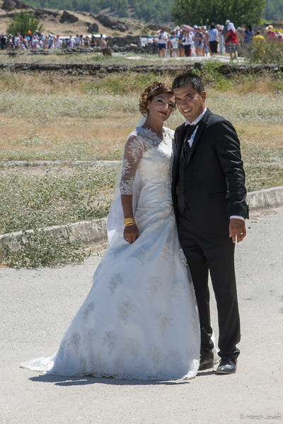 """4th year Pic 281 - Dec - 28 2012. <span style=""""color:yellow""""> Just married!</span>  -  Pamukkale, Turkey <span style=""""color:cyan"""">Critiques welcome!  </span>  Despite the heat (refer yesterday's shot), the couple was ready to pose!"""