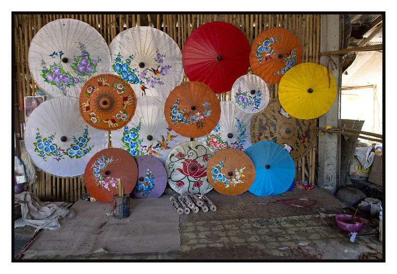 """4th year Pic 170 - July - 6 2012 <span style=""""color:yellow"""">Umbrellas  </span>, Bo Sang Umbrella Village, Chiang Mai, Thailand  These hand painted colourful umbrellas can be used under the sun or as decorative pieces!"""