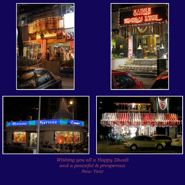 """184 28th Oct<br /> Happy Diwali! <br /> <br /> Last Sunday around 7.30 pm, I shot these shops near my house. <br /> Shot on Canon IXY 910 IS with ISO around 200 and f3.5 with speeds between 1/8 to 1/20 and  one with 1/60 (hand held).  No PP except for crop and a bit of light adjustment. <br /> <br /> Diwali or Deepavali, a significant festival is celebrated in India, especially by Hindus, Jains & Sikhs. For Hindus & Jains, Diwali also means the end of the Indian calendar year. <br /> <br /> Diwali means Festival of Lights, where the lights or lamps signify victory of good over the evil within every human being. People put up Diyas (oil lamps) on the balconies & windows, make elaborate designs on floors (normally near entrances) with coloured powder. Shops are lit up and there is a festive feel all around.  <br /> <br /> On the new year (Wednesday 29th this year) people visit relatives & friends exchanging wishes for the coming year. <br /> <br /> I wish all my friends here a very Happy and peaceful New Year! <br /> <br /> <br />  <a href=""""http://en.wikipedia.org/wiki/Diwali"""">http://en.wikipedia.org/wiki/Diwali</a><br /> <br />  <a href=""""http://www.javeri.net"""">http://www.javeri.net</a>"""
