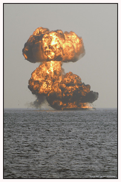 "Target destroyed, mission accomplished. <br /> The scene: A group of commandos dropped down on the shore from a helicopter. They approached the floating target set up in the sea, set fire to it and returned to shore and were picked up by the helicopter. <br /> <br /> Air show held by the Indian Navy on 27th January 2007 at Chowpatty Beach, Mumbai.<br /> <br /> more pics at gallery:  <a href=""http://www.smugmug.com/gallery/2403708_YRU6D/1/125962885_ATXxK"">http://www.smugmug.com/gallery/2403708_YRU6D/1/125962885_ATXxK</a><br /> <br /> <br /> My daily gallery <br />  <a href=""http://Hershy.smugmug.com/gallery/4836391_ACj8A/1/126434135_sx6wE"">http://Hershy.smugmug.com/gallery/4836391_ACj8A/1/126434135_sx6wE</a><br /> <br />  <a href=""http://www.javeri.net"">http://www.javeri.net</a>"