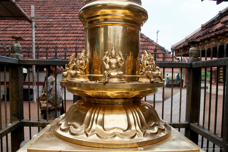 "348<br /> Pillar base <br /> D300 ISO 400 f8 1/400 18-105 lens<br /> <br /> This pillar was in the compound of the Lord Shiva temple at Kottayam, Kerala, India. I believe it was gold plated.  I had posted a shot of a temple a few days back which can be seen at   <br />  <a href=""http://hershy.smugmug.com/photos/525425776_UGmN7-M.jpg"">http://hershy.smugmug.com/photos/525425776_UGmN7-M.jpg</a><br /> <br /> <br />  <a href=""http://www.javeri.net"">http://www.javeri.net</a>"